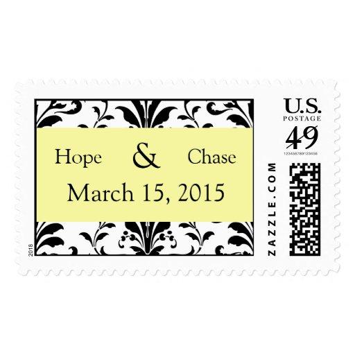 Yellow & Black Damask Swirl Wedding Stamp