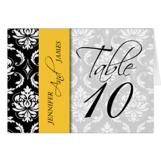 Yellow Black Damask Table Number Card Names