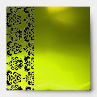 YELLOW BLACK DAMASK  Topaz Gold Envelope
