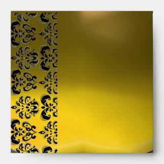 YELLOW BLACK DAMASK  Topaz Gold Envelopes