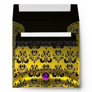 YELLOW BLACK DAMASK Topaz Purple Amethyst ,Gold envelope
