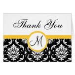 Yellow Black Damask Wedding Monogram Thank You Card