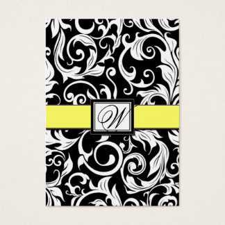 Yellow & Black Damask Wedding Reception Cards