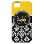 Yellow Black Damask Your Monogram iPhone 5 Covers
