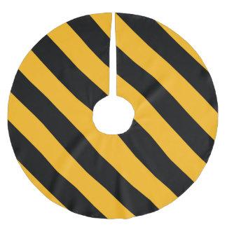 Yellow & Black Diagonal Stripes Brushed Polyester Tree Skirt