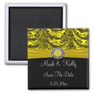 Yellow & Black Draped Baroque Date Magnet
