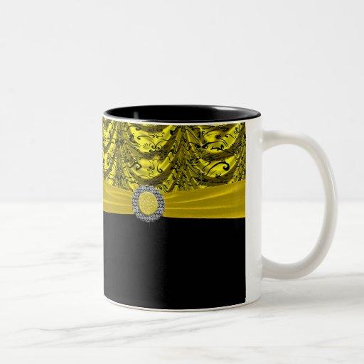 Yellow & Black Draped Baroque Keepsake Two-Tone Coffee Mug