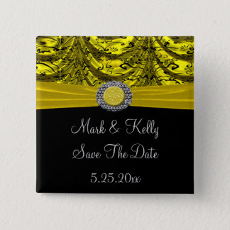 Yellow & Black Draped Baroque Save The Date Button