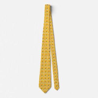 Yellow Black-Eyed Susan Floral Geometric Pattern Neck Tie