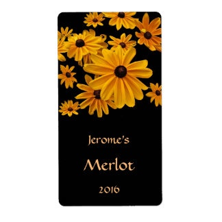 Yellow Black Eyed Susan Flower Red Wine Label