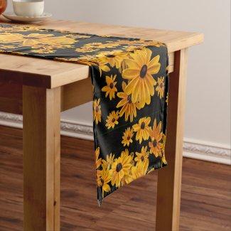 Yellow Black Eyed Susan Flower Short Table Runner