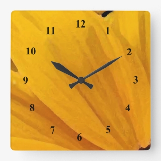 Yellow Black Eyed Susan Flowers Abstract Clock