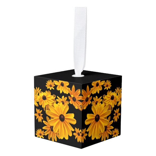Yellow Black Eyed Susan Flowers Cube Ornament