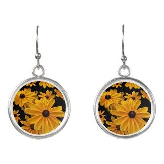 Yellow Black-Eyed Susan Flowers Drop Earrings