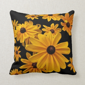 Yellow Black-eyed Susan Flowers Floral Pillow