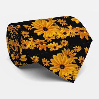 Yellow Black-eyed Susan Flowers Floral Tie