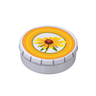 Yellow Black-Eyed Susan in Circular Frame Jelly Belly Candy Tin