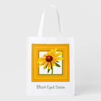 Yellow Black-Eyed Susan in Square Frame Grocery Bag