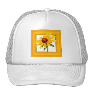 Yellow Black-Eyed Susan in Square Frame Trucker Hats
