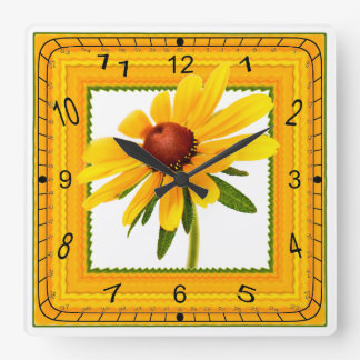Yellow Black-Eyed Susan in Square Frame Square Wall Clock