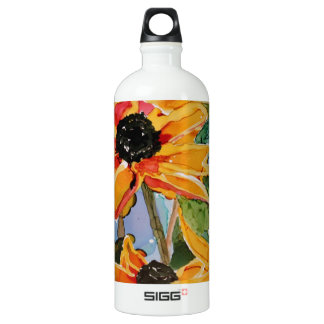 Yellow Black-eyed Susan Wildflower Art Panting Aluminum Water Bottle