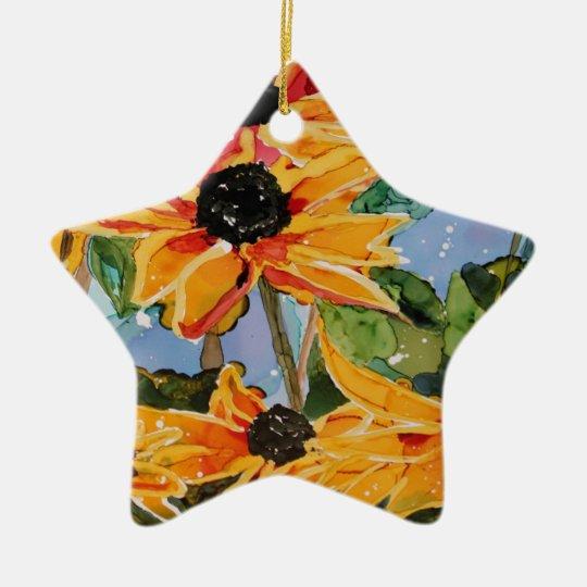 Yellow Black-eyed Susan Wildflower Art Panting Ceramic Ornament