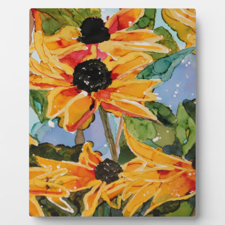 Yellow Black-eyed Susan Wildflower Art Panting Plaque