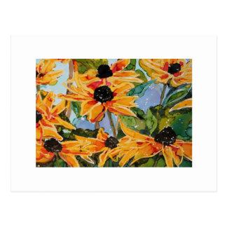 Yellow Black-eyed Susan Wildflower Art Panting Postcard