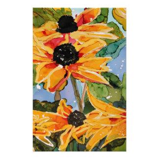 Yellow Black-eyed Susan Wildflower Art Panting Customized Stationery