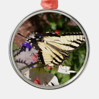 Yellow & Black Fantail Butterfly Metal Ornament