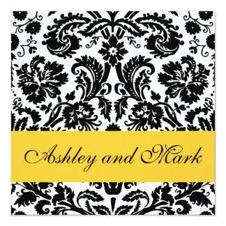 Yellow Black Floral Damask Wedding Invitations