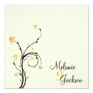 Yellow Black Floral Swirls Cream Post Wedding Card