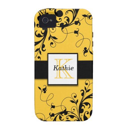 Yellow Black Floral Swirls iPhone 4 Case-Mate