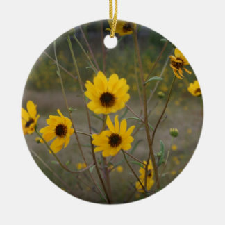 Yellow black Florida Wildflower Photograph Double-Sided Ceramic Round Christmas Ornament