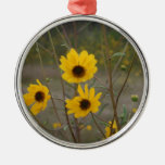 Yellow black Florida Wildflower Photograph Christmas Tree Ornaments
