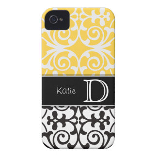 Yellow/Black Flourish Personalized iPhone 4/4s iPhone 4 Case
