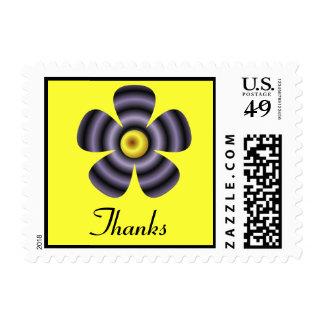 yellow black flower thanks postage