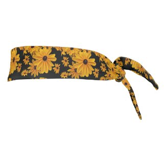 Yellow Black Flowers Floral Tie Headband
