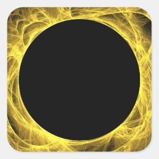 Yellow & Black Fractal Background Square Sticker