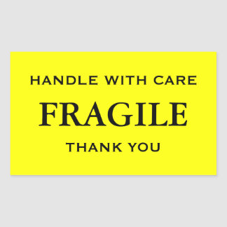 Yellow/Black Fragile. Handle with Care. Thank you. Rectangular Sticker
