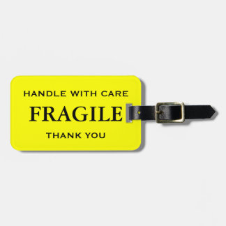 Yellow Black Fragile Handle with Care Thank You Tag For Luggage