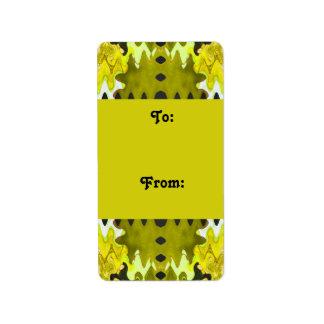yellow black Gift tags Address Label