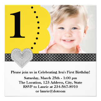 Yellow Black Girls Photo 1st Birthday Party Personalized Announcements