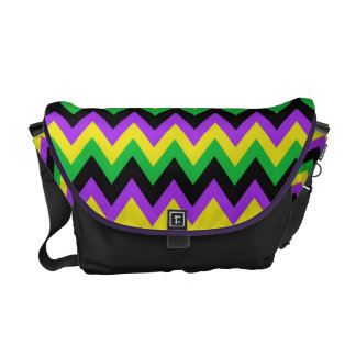 Yellow, Black, Gree and Purple Chevron Pattern Bag Courier Bag