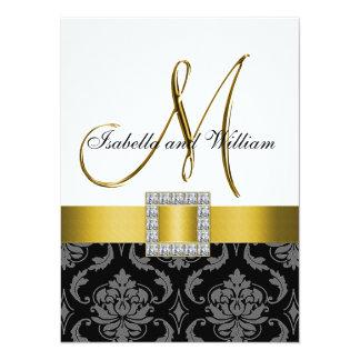 Yellow, Black Grey Damask Initial Wedding Invite