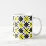 Yellow, Black, Grey on White Argyle Print Mug