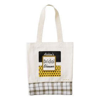 Yellow Black Hearts Theme Bridal Shower B01 Zazzle HEART Tote Bag