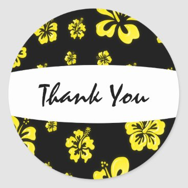 Beach Themed Yellow & Black Hibiscus Flower Floral Sticker