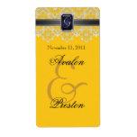 Yellow & Black Lace Jeweled Wedding Wine Label