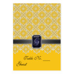 Yellow & Black Lace Wedding Table  PlaceCard Business Cards